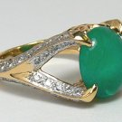 3.40tcw Exquisite! Colombian Emerald Cabochn & Diamond Cocktail Ring