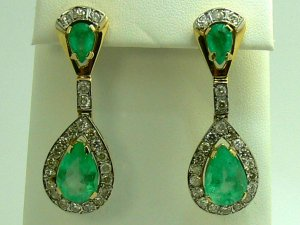 16.60tcw Old Hollywood Glamour! Colombian Emerald & Diamond Chandelier Earrings