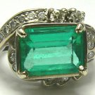 5.20tcw Art Deco Emerald Cut Colombian Emerald & Dimaond Ring