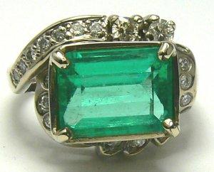 5.20tcw Art Deco Emerald Cut Colombian Emerald & Dimaond Ring