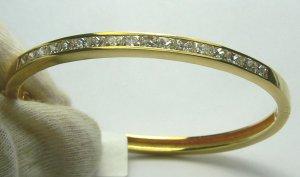 3.50tcw Glittering! Channel Set Diamond Bangle 18k Yellow Gold