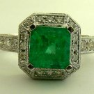 3.48tcw Blinding! Colombian Emerald & Diamond Engagement Ring 14k