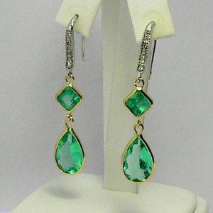 15.76 tcw Mesmerizing! Colombian Emerald & Gold Dangle Earrings 14k
