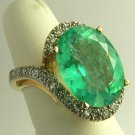 13.45cts Movie Star! Colombian Emerald & Diamond Cocktail Ring