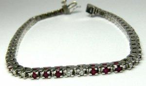 .53tcw Magical! Red Ruby & Diamond White Gold Tennis Bracelet 14k