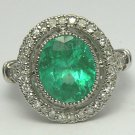 7.24tcw Super! Antique Inspired Colombian Emerald & Diamond Cocktail Ring