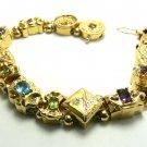 12cts Vintage Gold Charm & Multi-Gemstone Bracelet