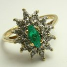 .75pts Enchanting Colombian Emerald Marquise & Diamond Cocktail Ring
