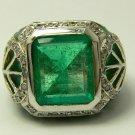 8.20tcw Heart Stopping! Colombian Emerald Diamond Enamel & Gold Ring