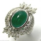8.75tcw Vintage Find! Colombian Emerald cabcohon & Diamond Cocktail Ring 18k