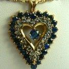 COLORFUL DIAMOND & SAPPHIRE HEART PENDANT