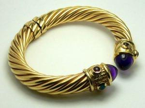 Famous Designer-ish! Gold Renaissance Cable & Amethyst Cabochon Bangle Braclet