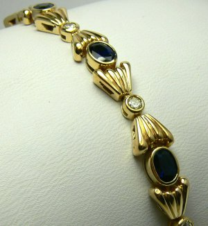 "9.0tcw Electric! Blue Sapphire & Diamond Gold Link ""Bow Tie"" Bracelet 14k"