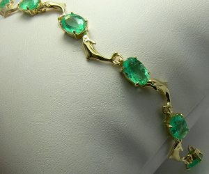 9.20tcw Whimsical! Oval Colombian Emerald & Gold Dolphin Tennis Bracelet 14k