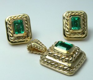 3.80tcw Gleaming! Gold Artisian Colombian Emerald Jewelry Suite