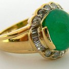 5.10tcw Spectacular! Colombian Emerald Cabochon & Diamond Ring 14k