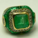 "3.50tcw ""Garden Collection"" Colombian Emerald, Diamond & Enamel Ring"