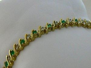 """4.0tcw Colombian Emerald & Fancy Light BrownDiamond """"S"""" Link Tennis Bracelet"""