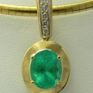 3.40cts Dreamy! Colombian Emerald Gold & Diamond Pendant 14k
