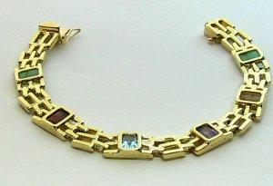 7.20tcw Decadent! Multi Gemstone Gold Link Bracelet 14k