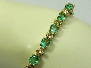 17.17tcw Glamorous! Colombian Emerald & Diamond Tennis Bracelet 14k