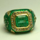 2.75tcw Luxurious! Colombian Emerald Diamond Enamel & Gold Cocktail Ring