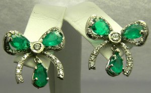 Wow! Beautiful Colombian Emerald & Diamond Bow Earrings 6.0 cts