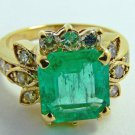 3.14tcw Classic! Colombian Emerald & Diamond Cocktail Ring 14k