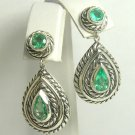 3.0cts Artisian Sterling Silver & Pear Colombian Emerald Earrings