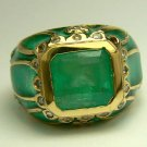 4.10cts Mouthwatering! Colombian Emerald Diamond Enamel & Gold Cocktail Ring