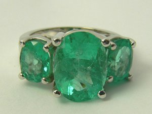 "8.40tcw Ravishing! Colombian Emerald ""Three Stone Ring"" 14k White Gold"