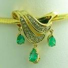 3.60tcw Sparkling! Pear Shaped Colombian Emerald & Diamond Slide/Pendant 14k