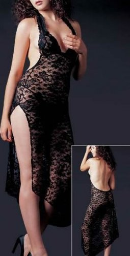 ~ Halter Neck Style Lace Long Gown ~