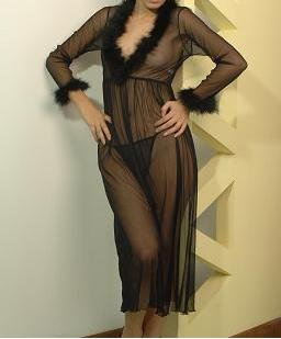 ~ Simply Sexy Long Sheer Coat With Marabou Trims ~