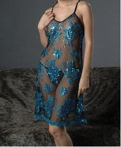 ~ Pretty Sheer Flower Embroidered Chemise ~