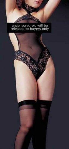 ~ Halter Style Thong Back Mesh Teddy With Fancy Lace Trims ~