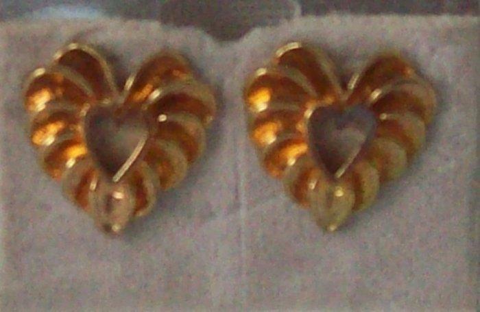Jewelry, Hypo-allergenic gold Pierced Earrings, Nickel free, heart shaped**