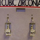 Cubic Zirconia Jewelry, Silver earrings with rectangle stone**