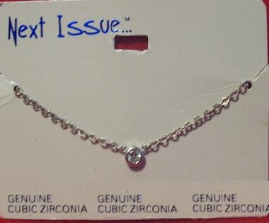 Cubic Zirconia Jewelry, Silver chain/ with clear stone**