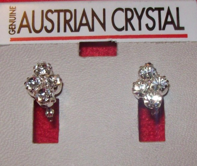 Austrian Crystal Jewelry, Earrings w/ 4 clear crystals in cluster - #9**