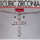 Cubic Zirconia Jewelry, Silver Chain and Cross**