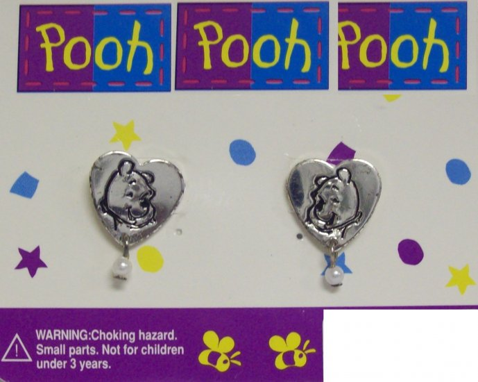 Children's  Jewelry, Winnie the Pooh  Earrings, Silver Heart shaped