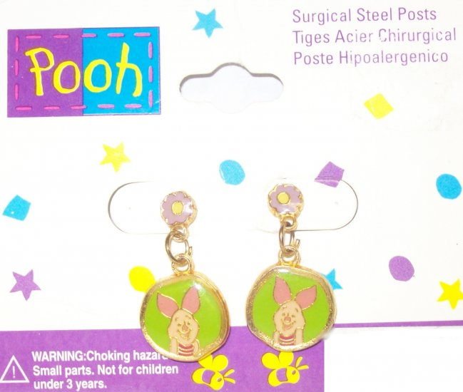 Children's  Jewelry, Winnie the Pooh  Earrings, Round, w/ small flower**