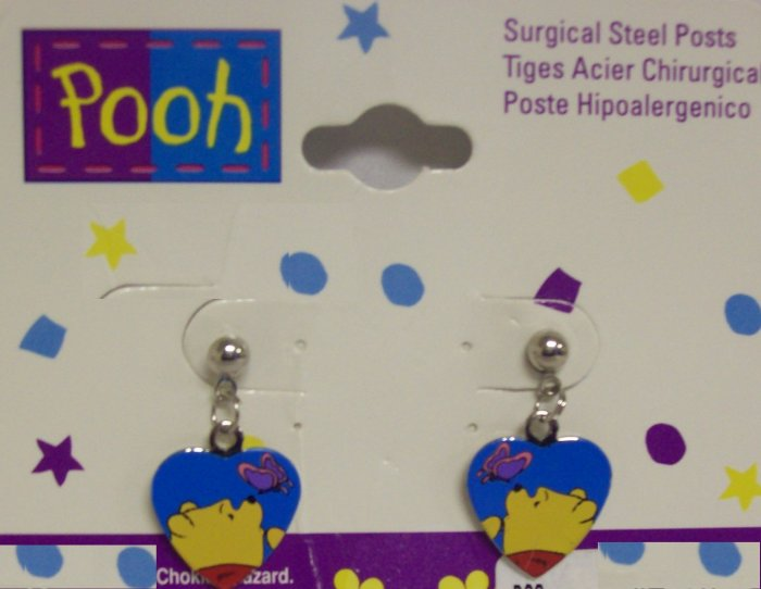 Children's  Jewelry, Winnie the Pooh  Earrings, Colorful Heart shaped