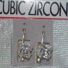 Cubic Zirconia Jewelry, Silver Earrings - Square shape**