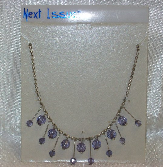 "Austrian Crystal Jewelry 16"" Silver Neck Chain w/ several dangling lavender stones **"