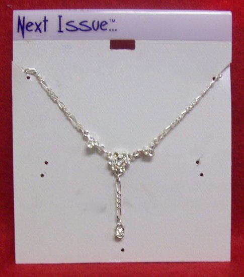 """Austrian Crystal Jewelry, 16"""" Silver Neck Chain w/ clear crystal stones dangling """"vee pattern"""""""