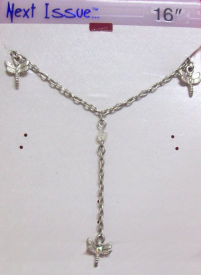 """Austrian Crystal Jewelry, with 3 Dragonflies dangling from 16"""" Silver chain"""