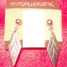 Costume Jewelry, a pair of Silver diamond shaped earrings, w/ hypoallergenic posts