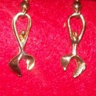 "Fashion Costume Jewelry, a pair of Gold  can opener earrings w/ 1 1/2"" dangle"